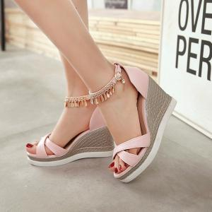 Wedge Heel Cross Strap Sandals - PINK 39