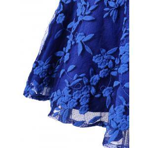 Embroidered Sleeveless Homecoming Dress - BLUE M