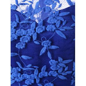 Embroidered Sleeveless Homecoming Dress - BLUE L