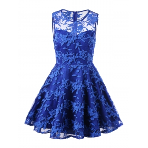 Lace Embroidered Sleeveless Homecoming Skater Dress