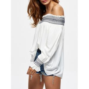 Off The Shoulder Flowy Embroidered Blouse - WHITE M