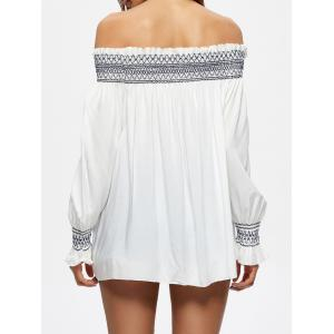 Off The Shoulder Flowy Embroidered Blouse - WHITE L