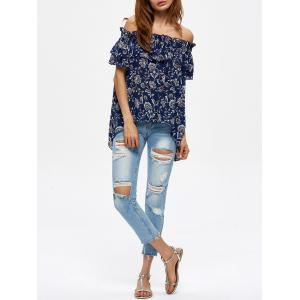 Off The Shoulder Floral Ruffle Blouse -