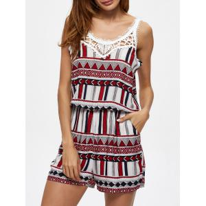 Geometric Print Crochet Lace Insert Romper with Pocket -