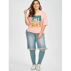 Plus Size Love Graphic T-Shirt - PINK 2XL
