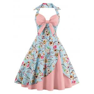 Halter Neck Floral Pin Up A Line Dress