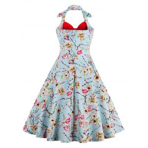 Halter Neck Floral Pin Up A Line Dress - RED S