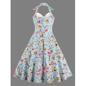 Halter Neck Floral Pin Up A Line Dress - OFF WHITE S