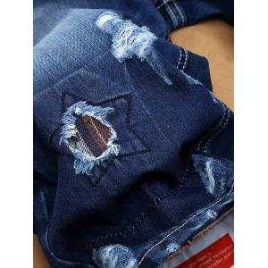 Patch Embellished Ripped Denim Jean Shorts -