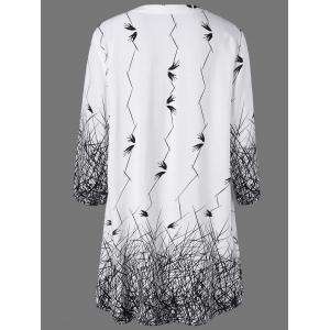 Plus Size Graphic Longline Henley Blouse -