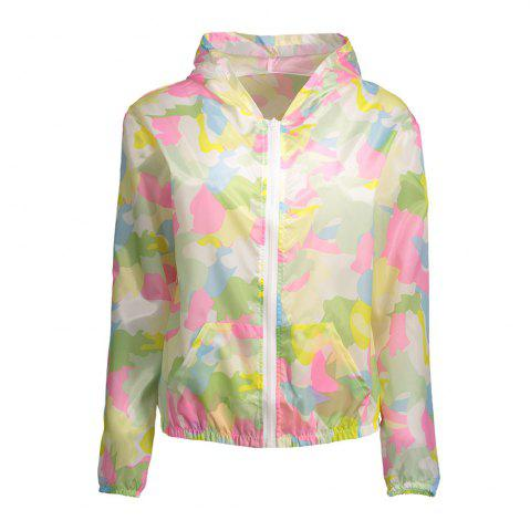 Best Camouflage Hooded Sun Protection Skin Windbreaker - ONE SIZE PINK Mobile