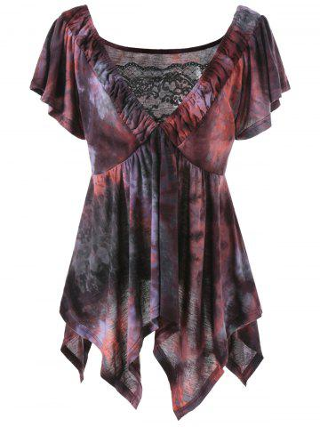 Sale Plus Size Asymmetrical Tie Dye Top