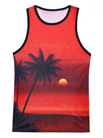 Buy 3D Coconut Tree Sunset Print Mesh Tank Top - L COLORMIX Mobile
