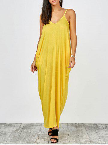 Sale Floor Length Beach Slip Dress YELLOW 2XL