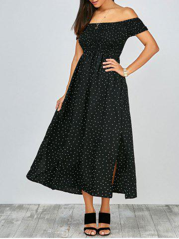 Off The Shoulder Split Maxi Dress - Black - S