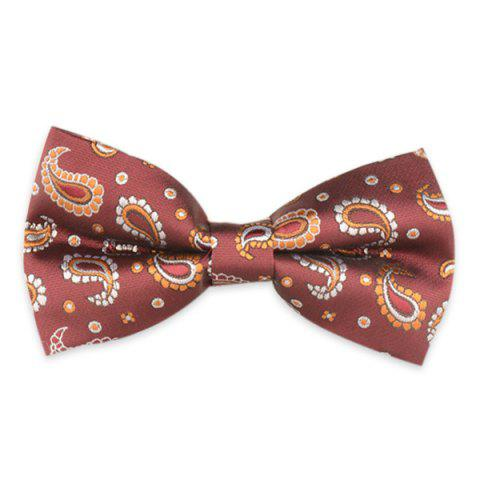 Vintage Paisley Embroidered Bow Tie - Wine Red - 4xl