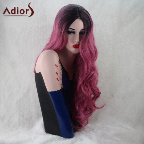 Store Adiors Long Wavy Gradient Middle Part Capless Synthetic Wig BLACK/PINK