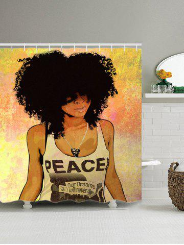 Sale Shower Curtain with Hip Hop Afro Hair Girl Print - 150*180CM COLORMIX Mobile