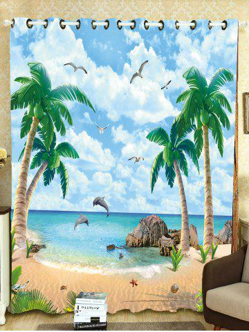 Affordable Beach Palm Tree Window Shading Blackout Curtain - W59 INCH*L71 INCH LIGHT BLUE Mobile