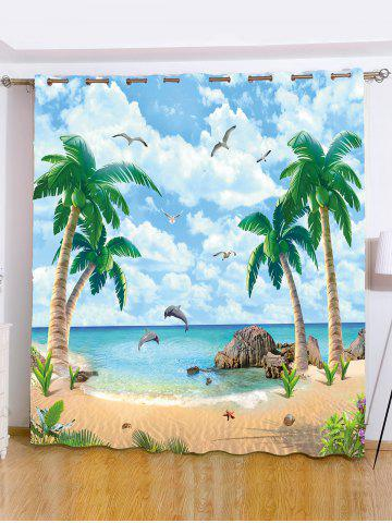 Plage Palmier fenêtre Shading Blackout Curtain