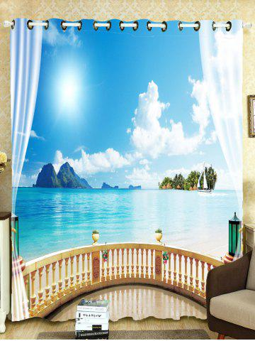 Shop Shading Seascape Printed Window Curtain For Bedroom - W59 INCH*L71 INCH SKY BLUE Mobile