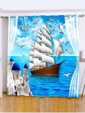 Fancy Ocean View Grommet Roller Window Curtain For Bedroom - W59 INCH*L71 INCH OCEAN BLUE Mobile