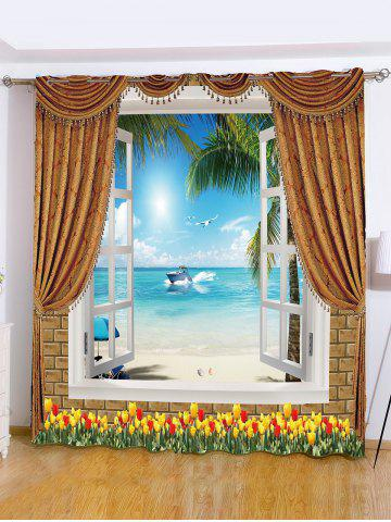 Sale Sea View Printed Roller Blind Background Window Curtain SKY BLUE W59 INCH*L71 INCH