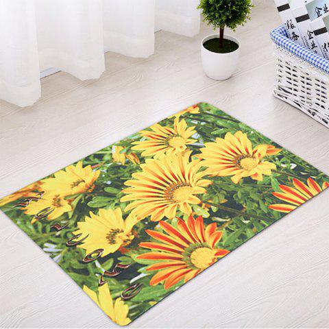Trendy Sunflower Antiskid Soft Absorption Rug - 45*75CM GREEN AND YELLOW Mobile