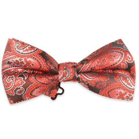 Jacquard Floral Printed Adjustable Bow Tie - Red - L