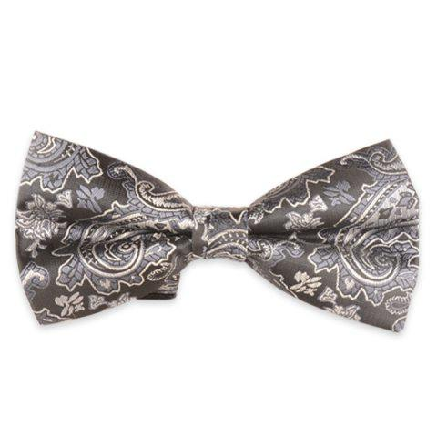 Jacquard Floral Printed Adjustable Bow Tie - Light Gray
