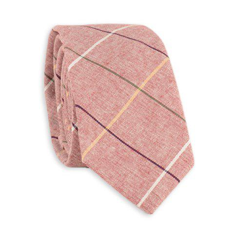Cotton Blend Big Checkered Pattern Tie - Pearl Light Pink - S
