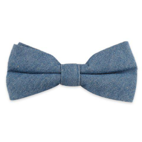 Chic Denim Fabric Double Deck Design Bow Tie