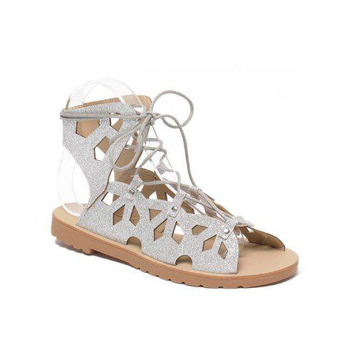 Trendy Slingback Metallic Lace Up Cut Out Sandals