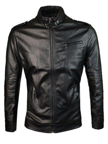 Outfit Epaulet Design PU Leather Jacket - M BLACK Mobile