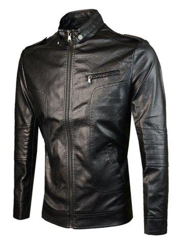 Online Epaulet Design PU Leather Jacket - M BLACK Mobile
