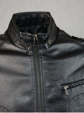 Latest Epaulet Design PU Leather Jacket - M BLACK Mobile