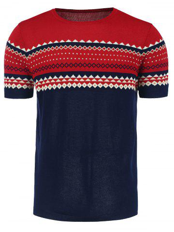 Sale Crew Neck Graphic Short Sleeve Jumper - 2XL WINE RED Mobile