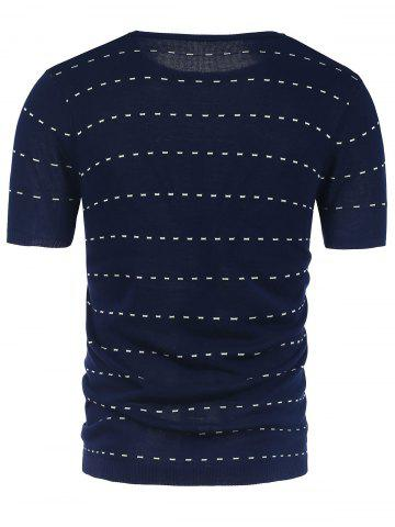 Outfits Striped Crew Neck Short Sleeve Jumper - 2XL DEEP BLUE Mobile