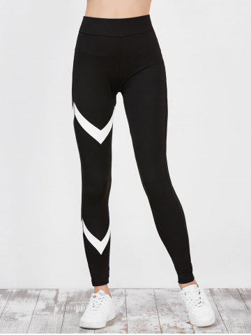 Fancy High Waist Zigzag Panel Running Leggings - M BLACK Mobile