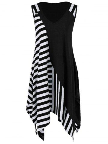 Buy Striped Long Handkerchief Sleeveless Flowy T-Shirt WHITE AND BLACK M