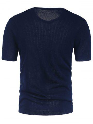 Online V Neck Short Sleeve Jumper - 2XL CERULEAN Mobile