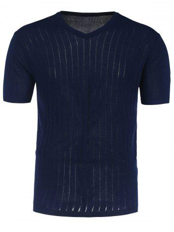 Outfit V Neck Short Sleeve Jumper - 2XL CERULEAN Mobile