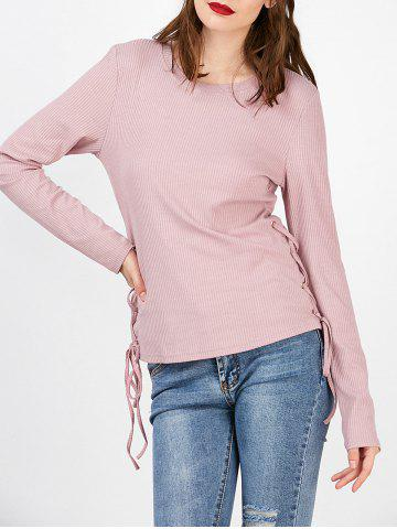 Ribbed Long Sleeve Lace Up Tee