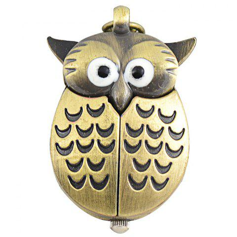 Trendy Owl Pendant Number Pocket Watch - BRONZED  Mobile