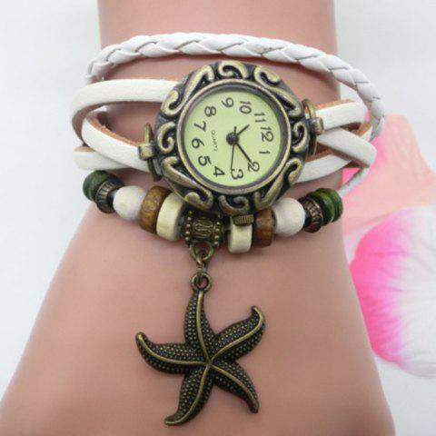 Starfish Number Vintage Bracelet Watch - White - One-size
