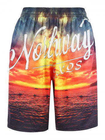 Cheap 3D Sunset Graphic Print Hawaiian Board Shorts