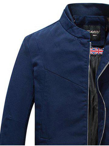 Outfits Stand Collar Zippered Jacket - L CERULEAN Mobile