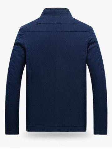 Discount Stand Collar Zippered Jacket - L CERULEAN Mobile