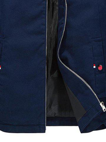 Trendy Stand Collar Zippered Jacket - L CERULEAN Mobile