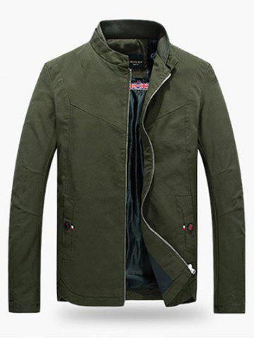 Shops Stand Collar Zippered Jacket ARMY GREEN 3XL